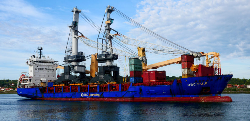 2019 08 07 Arrivee Grues Port De Bayonne Navire Bbc Fuji Prive Bl (17)